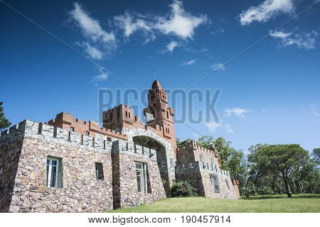 Las Flores route 71 Uruguay - February 2 2013: Maldonado province local government started restoration of Pittamiglio Hall the Art Deco version of a Middle Ages castle