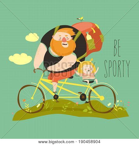 Father and his daughter ride tandem bike. Vector illustration