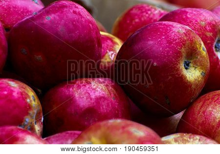 Red apples in a wooden box. Group of red apples
