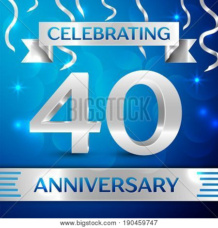Forty Years Anniversary Celebration Design. Confetti and silver ribbon on blue background. Colorful Vector template elements for your birthday party. Anniversary ribbon
