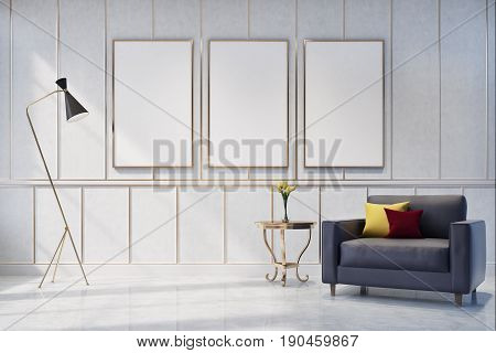 White living room interior with a poster gallery on the wall. There is a gray armchair with cushions in the corner and a coffee table with a flower vase. 3d rendering mock up