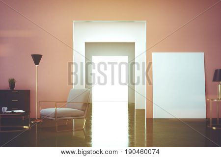 Pink living room interior with an armchair in the corner and a vertical poster standing on the floor near a door to the next room. 3d rendering mock up
