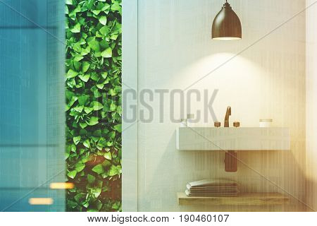 Eco bathroom interior with a narrow window green shrubbery is seen through it. There is a sink hanging on a marble wall. 3d rendering mock up toned image