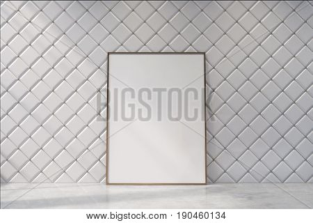White empty living room interior with a diamond wall pattern. There is a framed vertical poster standing near a wall. 3d rendering mock up