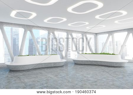 Spaceship style office interior with oval ceiling lamps concrete floor and panoramic windows with triangular frames. There are original flower beds with fresh grass. Side. 3d rendering mock up