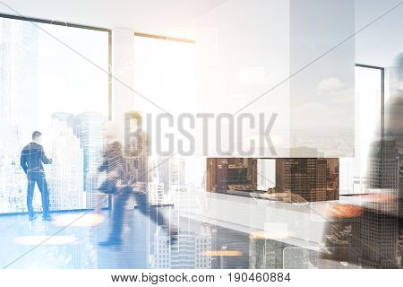 Business people in suits are passing by a fireplace in a white empty office with panoramic windows. 3d rendering toned image mock up double exposure