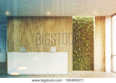 Front view of a white reception desk with two laptops standing on it in front of a wooden office wall. There is a grass wall seen through a wall opening. 3d rendering mock up toned image