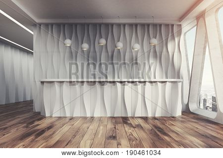 Front view of a white wave reception desk is standing near a white wall in a room with wooden floor and original windows with triangular frames. 3d rendering mock up toned image