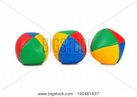Set of three juggling balls on white background