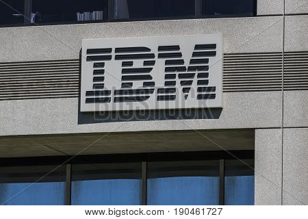 Indianapolis - Circa June 2017: IBM signage and logo. International Business Machines pioneered the PC ATM and the floppy disk