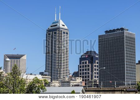 Indianapolis - Circa June 2017: Indy's Downtown Skyline on a Sunny Day with the newly renamed Salesforce Tower VII