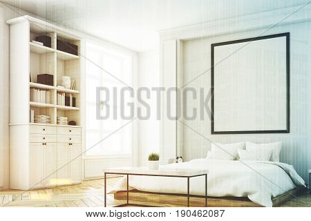 Corner Of A Bedroom With Bookcase Toned