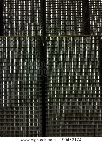 Metal Tin cans for food closeup. background
