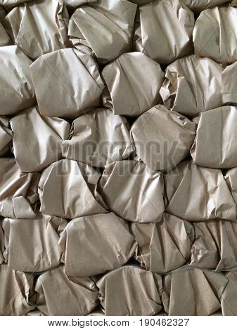 Paper products and goods storehouse. brown paper texture