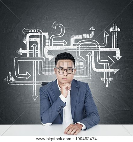 Portrait of a young Asian businessman in glasses sitting near a blackboard with an arrow maze. Ways lead to different directions. Concept of choice