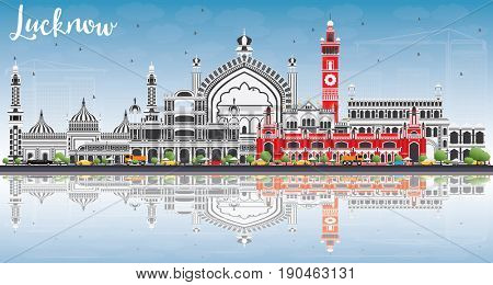Lucknow Skyline with Gray Buildings, Blue Sky and Reflections. Business Travel and Tourism Concept with Modern Architecture. Image for Presentation Banner Placard and Web Site.