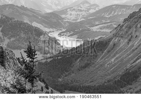 Monochromatic capture of the Swiss Alps at Rocher de Naye near Montreux