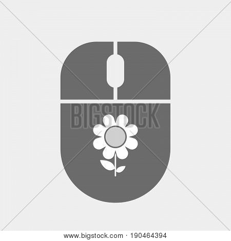 Isolated Computer Mouse With A Flower