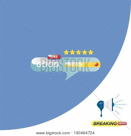 Good News, Icon For Journalism Of News Tv Channels And A Loudspeaker On The Background. Flat Vector