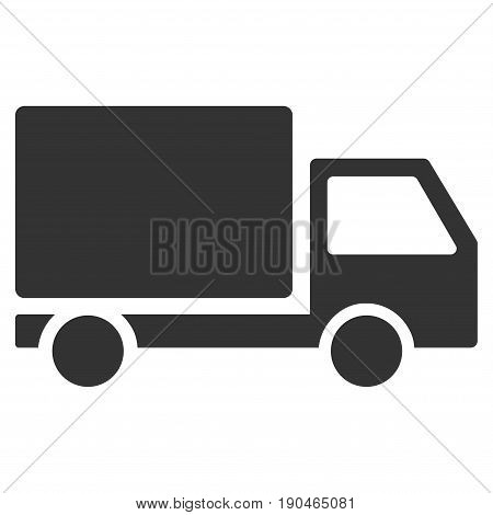 Delivery Lorry vector icon. Flat gray symbol. Pictogram is isolated on a white background. Designed for web and software interfaces.