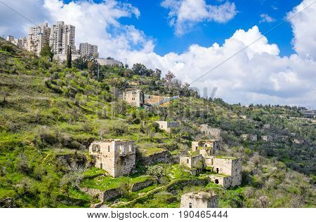 Jerusalem Israel at Lifta. Lifta is an abandoned Palestinian village.
