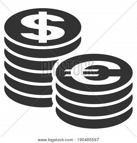 Euro And Dollar Coin Columns vector icon. Flat gray symbol. Pictogram is isolated on a white background. Designed for web and software interfaces.