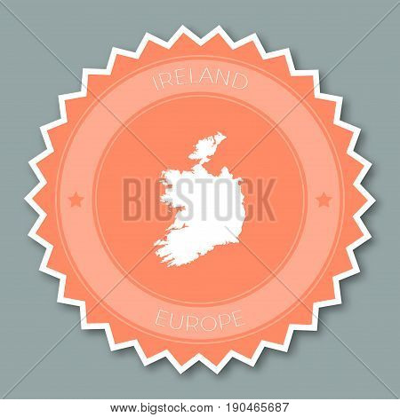 Ireland Badge Flat Design. Round Flat Style Sticker Of Trendy Colors With Country Map And Name. Coun