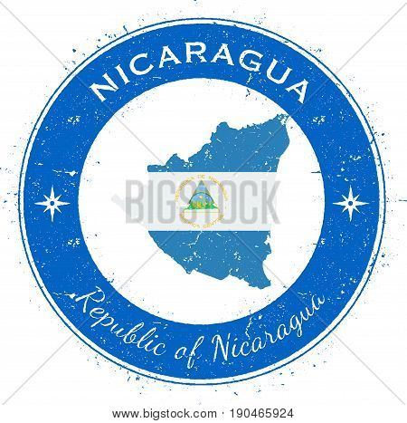 Nicaragua Circular Patriotic Badge. Grunge Rubber Stamp With National Flag, Map And The Nicaragua Wr