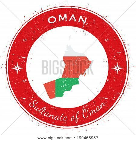 Oman Circular Patriotic Badge. Grunge Rubber Stamp With National Flag, Map And The Oman Written Alon