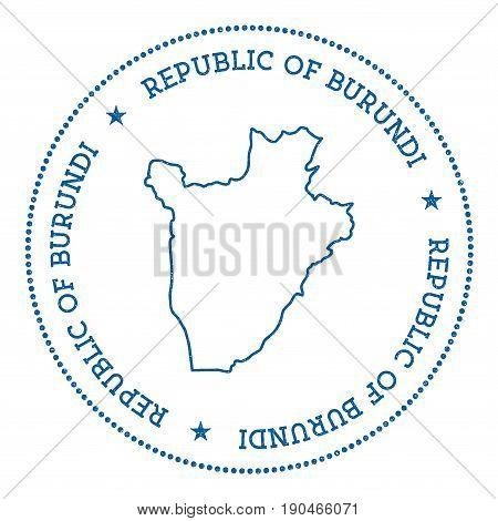 Burundi Vector Map Sticker. Hipster And Retro Style Badge With Burundi Map. Minimalistic Insignia Wi