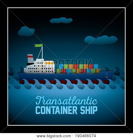 Simply Flat Style Poster with transatlantic container ship and waves vector illustration