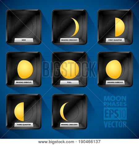 Moon Phases Icon Set which are in eight boxes with images and text vector illustration