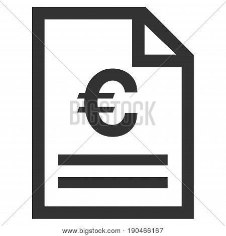 Euro Invoice Page vector icon. Flat gray symbol. Pictogram is isolated on a white background. Designed for web and software interfaces.