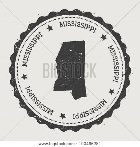 Mississippi Vector Sticker. Hipster Round Rubber Stamp With Us State Map. Vintage Passport Stamp Wit