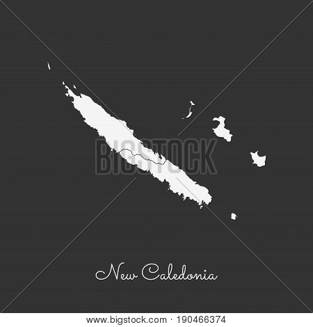 New Caledonia Region Map: White Outline On Grey Background. Detailed Map Of New Caledonia Regions. V