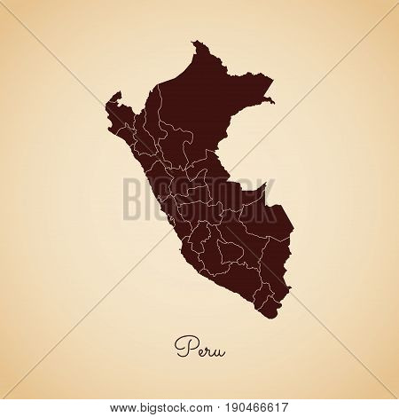 Peru Region Map: Retro Style Brown Outline On Old Paper Background. Detailed Map Of Peru Regions. Ve