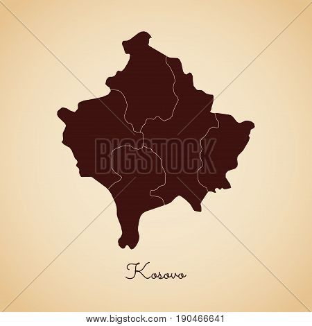 Kosovo Region Map: Retro Style Brown Outline On Old Paper Background. Detailed Map Of Kosovo Regions