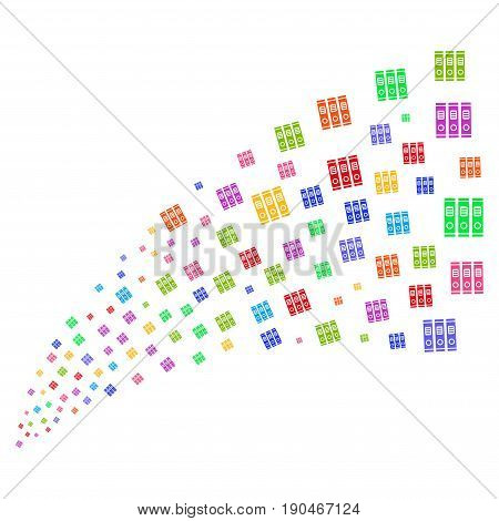 Fountain of books icons. Vector illustration style is flat bright multicolored iconic books symbols on a white background. Object fountain done from pictographs.