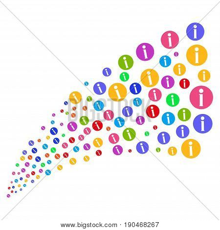 Fountain of info symbols. Vector illustration style is flat bright multicolored iconic info symbols on a white background. Object fountain combined from design elements.