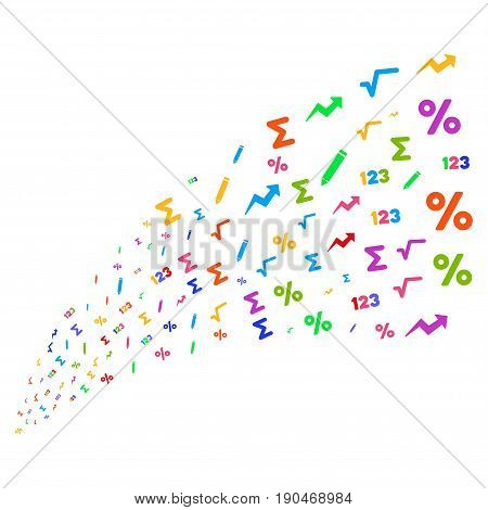 Source stream of math symbols. Vector illustration style is flat bright multicolored iconic math symbols on a white background. Object fountain constructed from pictographs.
