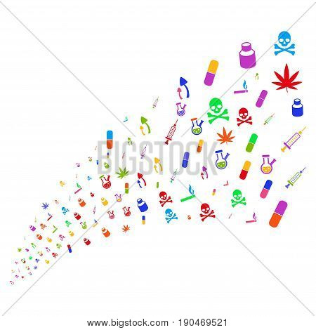 Stream of narcotic drugs icons. Vector illustration style is flat bright multicolored iconic narcotic drugs symbols on a white background. Object fountain constructed from design elements.