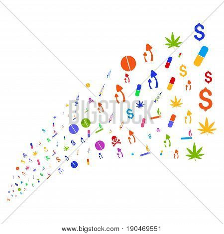 Source of narcotic drugs symbols. Vector illustration style is flat bright multicolored iconic narcotic drugs symbols on a white background. Object fountain combined from icons.