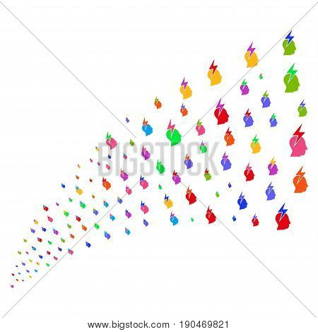 Stream of person stress strike symbols. Vector illustration style is flat bright multicolored iconic person stress strike symbols on a white background. Object fountain made from symbols.