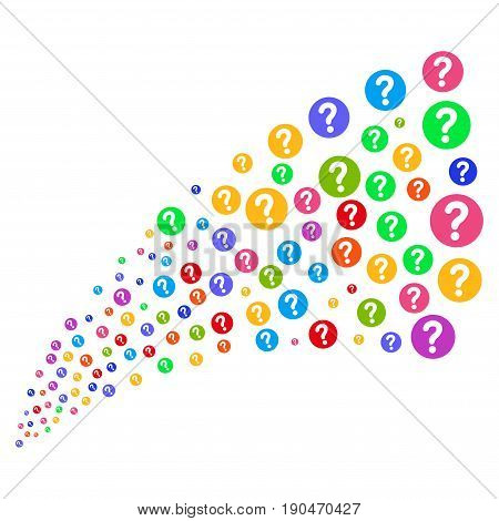 Source stream of query icons. Vector illustration style is flat bright multicolored iconic query symbols on a white background. Object fountain organized from icons.