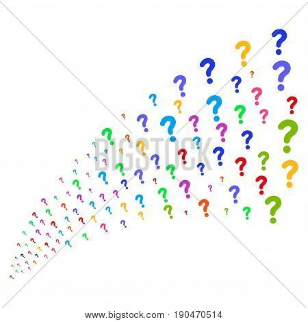 Stream of question icons. Vector illustration style is flat bright multicolored iconic question symbols on a white background. Object fountain made from symbols.