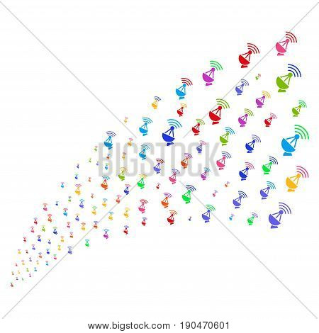 Stream of radio transmitter symbols. Vector illustration style is flat bright multicolored iconic radio transmitter symbols on a white background. Object fountain done from pictographs.