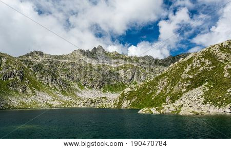 Glacier mountain lake in Brenta Dolomites. Gelato and Serodoli lakes above Madonna di Campiglio, Italy.