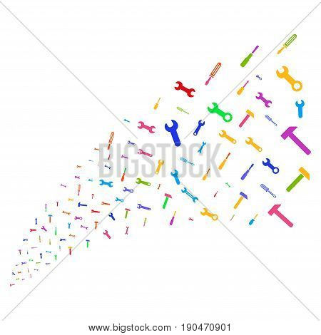 Source stream of repair tools icons. Vector illustration style is flat bright multicolored iconic repair tools symbols on a white background. Object fountain organized from symbols.
