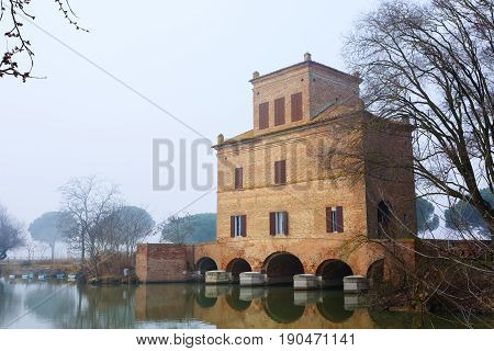 Ancient Building From Po River Lagoon, Italy