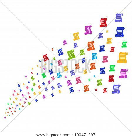 Fountain of script roll symbols. Vector illustration style is flat bright multicolored iconic script roll symbols on a white background. Object fountain made from icons.